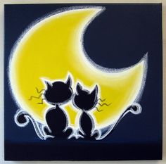 "2 cOOL cATS - 12""x12"" original acrylic painting on canvas, love cats"