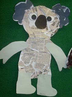I think this is adorable but I can't find the original source (if you know, please tell me! You could have kids tear pieces of newspaper for the body and grey paper for the ears. Sand Crafts, Fun Diy Crafts, Crafts For Girls, Summer Crafts, Preschool Crafts, Animal Projects, Animal Crafts, Art Projects, Koala Craft