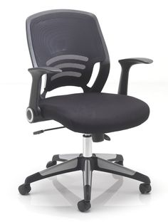 Mesh back office chair with a cushioned fabric seat and folding arms.  The arms of chair fold back for ease of storage when pushing under a desk and also when the user prefers not to use them.  Complete with lock tilt mechanism.   #backchair #officefurniture