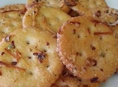 Ritz Crackers Recipe - made it with chex mix ingredients, baked at 300 for 15 min  1 stick of butter, parmesan cheese, garlic powder, red pepper flakes, 1 pkg ranch
