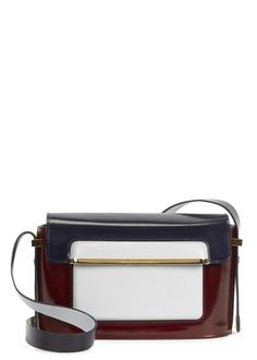 Mary Katrantzou burgundy glossed leather cross-body bag Detachable shoulder strap, pale blue�front patch pocket, internal patch pocket, printed lining Concealed magnetic fastening at flap front Comes with a dust bag