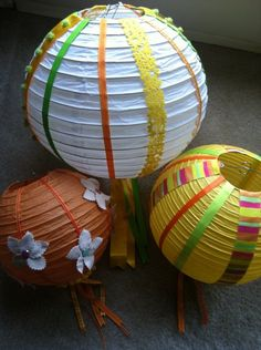 Turn plain paper lanterns into something fun and festive. Choose from all shapes, colors and sizes: http://www.partylights.com/Lanterns/Lanterns-Solids (idea by May Arts)