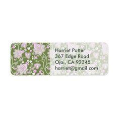 Pink Green Pastel Vintage Floral Pattern Label