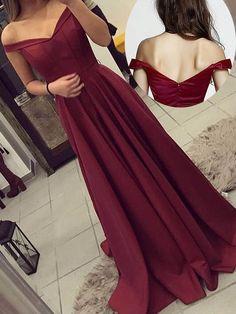 Off the shoulder Burgundy Long Formal Dress