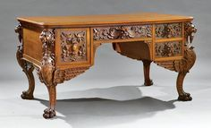 Carved Oak Partner's Desk, attr. Horner : Lot 852