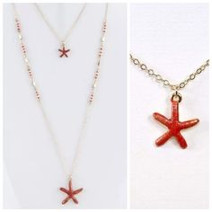 ED16 Coral Painted Layered Long Starfish Necklace ‼️PRICE FIRM‼️ 