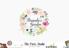 Watercolor Floral Wreath Logo Design