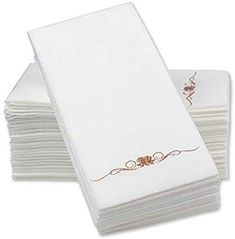 Amazon Com 12 X 17 Airlaid Paper Dinner Napkins Rose Gold Foil Stamped 1 6 Fold Disposable Guest Hand Guest Hand Towels Paper Dinner Napkins Foil Stamping