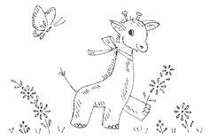 Nursery embroidery giraffe.