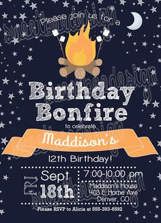 Bonfire Birthday Invitation Campfire by SweetBeeDesignShoppe