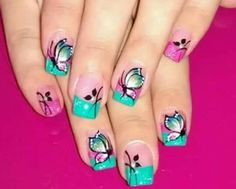 Mariposas Manicure And Pedicure, Spring Nails, Nail Art Designs, Make Up, Diana, Ideas, Designed Nails, Gorgeous Nails, Work Nails