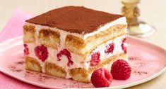Saigon Cinnamon Tiramisu with Fresh Raspberries Sheet Cake Recipes, Sponge Cake Recipes, Dump Cake Recipes, Cake Recipes From Scratch, Recipes From Heaven, Strawberry Cake Recipes, Healthy Cake Recipes, Homemade Cake Recipes, Raspberry Tiramisu