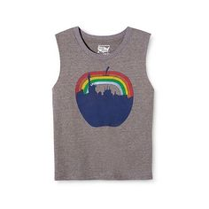 New York Local Pride by Todd Snyder Women's Big Apple Rainbow Skyline... ($15) ❤ liked on Polyvore featuring tops, grey, rainbow tank top, rainbow shirt, grey tank, shirt tops and gray top