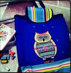 Pazar arabama çantam :) #handmade #blue #sweet #shoppingBag #owl