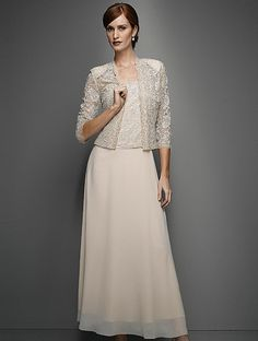 Karen Miller 96540 Chiffon Dress with Lace Jacket in Champagne (Plus Sizes) for $287.98