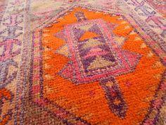 3'0'' X 17'9'' / 92 X 540 cm Antique Caucasian Pattern Vintage Handwoven Unique Pale Faded Orange and Pink Color Extra Long Hallway Carpet