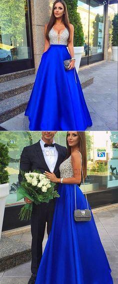 A-Line Low Cut prom Dresses, V-Neck Royal Blue Satin Princess Dress with Beading Pockets