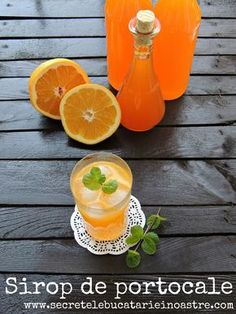 sirop de portocale, retete cu portocale, sirop de casa, portocale retete, retete de siropuri Alcoholic Drinks, Cocktails, Health Snacks, Dental Health, Fruit, Food Inspiration, Cantaloupe, Deserts, Food And Drink