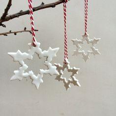 Ceramic Christmas ornaments, white Christmas decorations, snowflake ornament, Set of 3