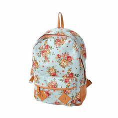 9603ef4f4dbc Canvas Floral Backpack Vintage Flower Design Fashion Travelling Bag  Schoolbag Canvas Backpack for Teens for