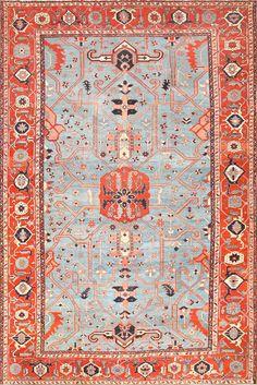 Large Light Blue Antique Persian Heriz Serapi Rug 48643