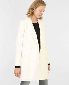 Manteau droit drap de laine écru