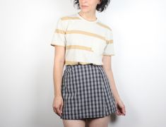 2c2f3309d5 Vintage 1990s Skort Gray Plaid Mini Skirt High Waisted Shorts Back Soft  Grunge Tennis Skirt Wrap