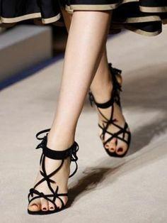 Y S L #wedges #sandals #black