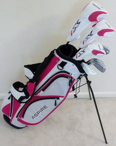 Tartan Sports Womens Complete Golf Set - for Petite Ladies Tall Driver, Wood, Hybrid, Irons, Putter Bag Pink Accents, Color Accents, Ladies Golf Clubs, Golf Outing, Christmas Deals, Sport, Accent Colors, Golf Bags, Pink Color