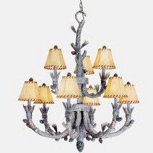 Vaxcel Lighting SW Nine Light Aspen Collection Chandelier in Snow Finish Discount Lighting, Fabric Shades, Chandelier Lighting, Aspen, Decorative Bells, It Is Finished, Snow, Ceiling Lights, Rustic