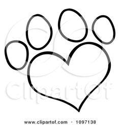 Google Image Result for http://images.clipartof.com/small/1097138-Clipart-Outlined-Heart-Shaped-Dog-Paw-Print-Royalty-Free-Vector-Illustrati...