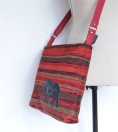 Handmade ladies handbag. across body strap. Reds with leather Elephant #beautiful #fabric #handmade #long  #strap #across #body #elephant