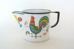 Berggren coffee pot percolator signed scandinavian folk art