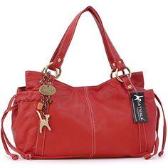 """Ledertragetasche """"Mia"""" von Catwalk Collection - Rot - GRÖßE: B: 32 H: 19 T: 14 cm - http://herrentaschenkaufen.de/catwalk-collection-handbags/rot-ledertragetasche-mia-von-catwalk-collection"""