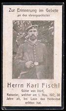 WW1 GERMAN ARTILLERY DEATH CARD STERBEBILD - KIA SISSONNE 1917