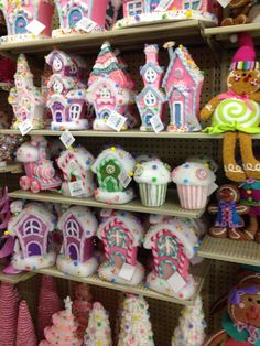 Hobby Lobby Candy Houses found in Winter. Maybe we can find one/two pieces for the candy table?