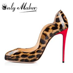 Onlymaker Brand Women s High Heel Pumps Shoes Round Toe Fashion Patent  Leather Red Heel Leopard Stiletto 037c13aea301