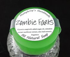 ZOMBIE FARTS soap, Vanilla Shave & Shampoo Soap, Round Green Puck, Vanilla Scent, All In One Zombie Soap, Horror, Undead, Scary Creepy Funny