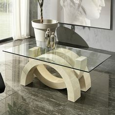Modern coffee table oympia by Stones has unique fossil stone base design This outstanding look becomes the centre of attention in living room interior 3 Stone Coffee Table, Glass Top Coffee Table, Coffe Table, Centre Table Design, Tea Table Design, Table Designs, Table Tv, Glass Dining Table, Contemporary Coffee Table