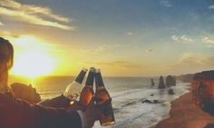 Take me back to the days where drinking #beer at #sunset one a #beach was a daily occurrence  #beerwithaview / #australia / #greatoceanroad / #adventure / #gopro / #goprooftheday / #12apostles / #teds / #sea / #sand by charcharbrooks