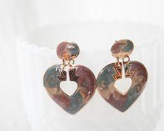 Heart earrings stud earrings pink yellow red by AlbertsAttic