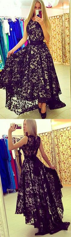 Unique round neck lace high-low black prom dress for teens, black evening dress