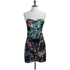 Pre-owned Twelfth St./Cynthia Vincent Floral Strapless Silk Dress ($120) ❤ liked on Polyvore featuring dresses, floral dress, blue floral dress, blue dress, blue strapless dress and floral cocktail dress