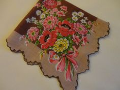 Fall Colors! VINTAGE Hankie Brown center tan border by CountryCoveCreations, $6.95