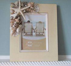 Beach Decor Shell Frame - Nautical Decor Seashell Frame w Starfish & Sand Dollars - 8x10 Ivory