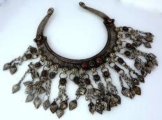 Vintage Tribal Brass  -- Vintage  Large Kuchi Tribal Pendant with Gem Accents