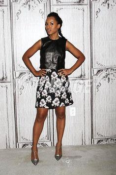 Kerry Washington wearing Dorothee Schumacher Audacious Mix Skirt and Ji Oh Resort 2015