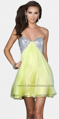 Strapless Sequin Bodice Short Prom Dresses by La Femme-image