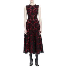 Alexander McQueen.  Baroque Lace Sleeveless Midi Dress.  Alexander McQueen midi dress with baroque lace overlay.  High round neckline.  Sleeveless; moderate sh…