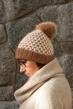 Brown Cream Knitted Beanie Hat with Fur Pom Pom by milazshop